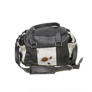 Zulucow Nguni cowhide leather weekend bag tricolour brown and white travel bag travel accessories holdall luggage