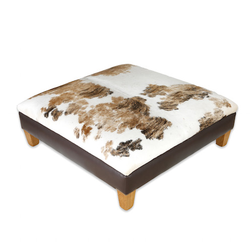 The Field Nguni cowhide ottoman, footstool, cowhide furniture, handmade, interiors, home decor, cowhide furniture leather brown white tricolour bespoke furniture, ottomans.