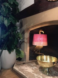 'Liberty London' Rockett St George, flamingo pink and gold lamp stand, lighting, luxury lamps, eclectic interiors, quirky lighting, eclectic lighting, funky lamp,