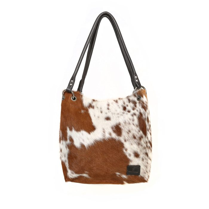bags-leather-slouch-bags-hobo bags, cowhide-bags -brown and white, leather bags, fashion accessories, women's accessories, handmade bags, artisan made, socially conscious brand, sustainable fashion