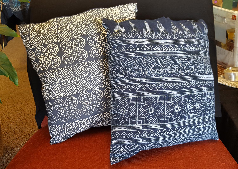 indigo batik pillow case 16x16