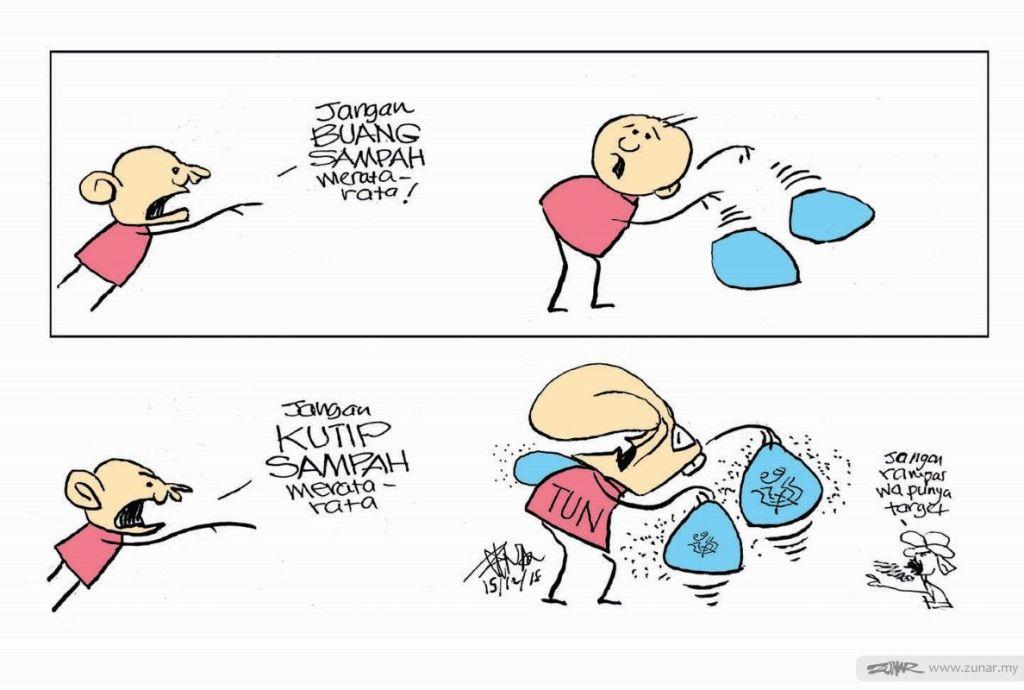 Cartoonkini Kutip Sampah Zunar Cartoonist