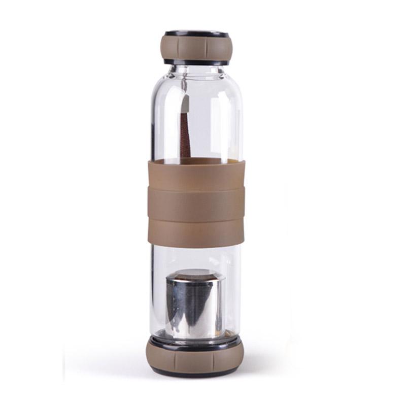 bouteille infuseur a the en verre 550ml marron