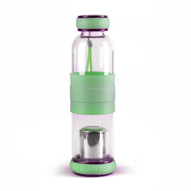 bouteille infuseur a the en verre 550ml vert