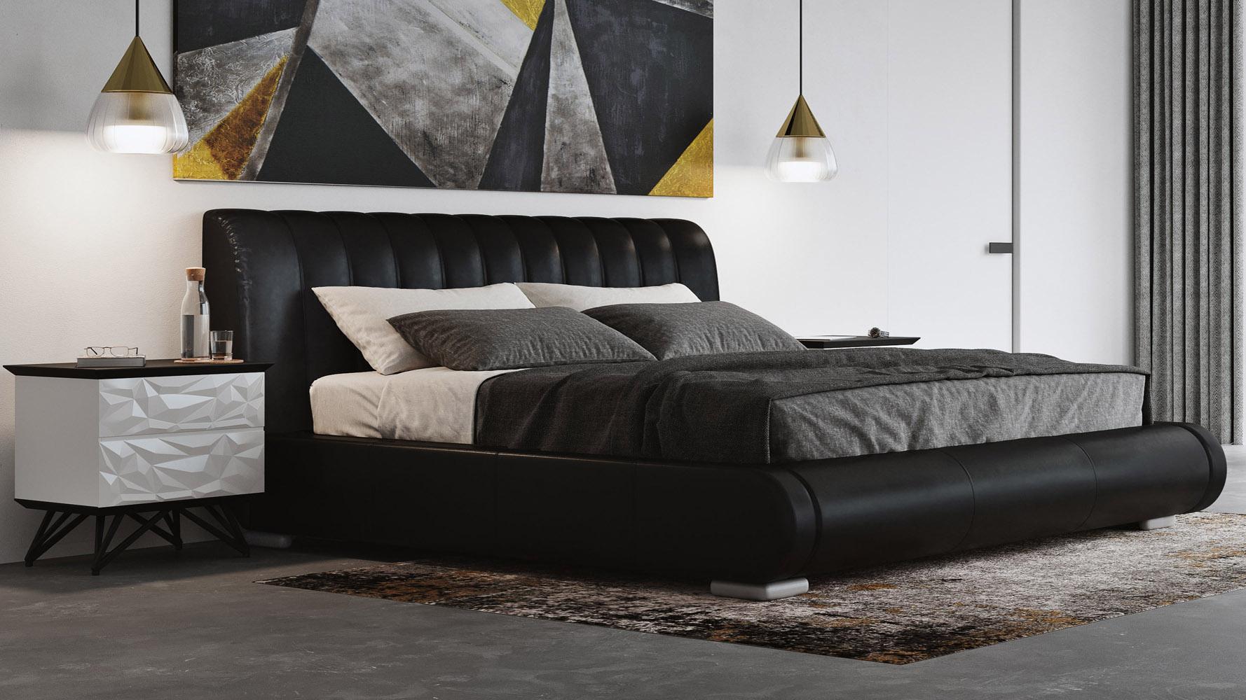 Dior Leather Contemporary Platform Bed Black Zuri Furniture