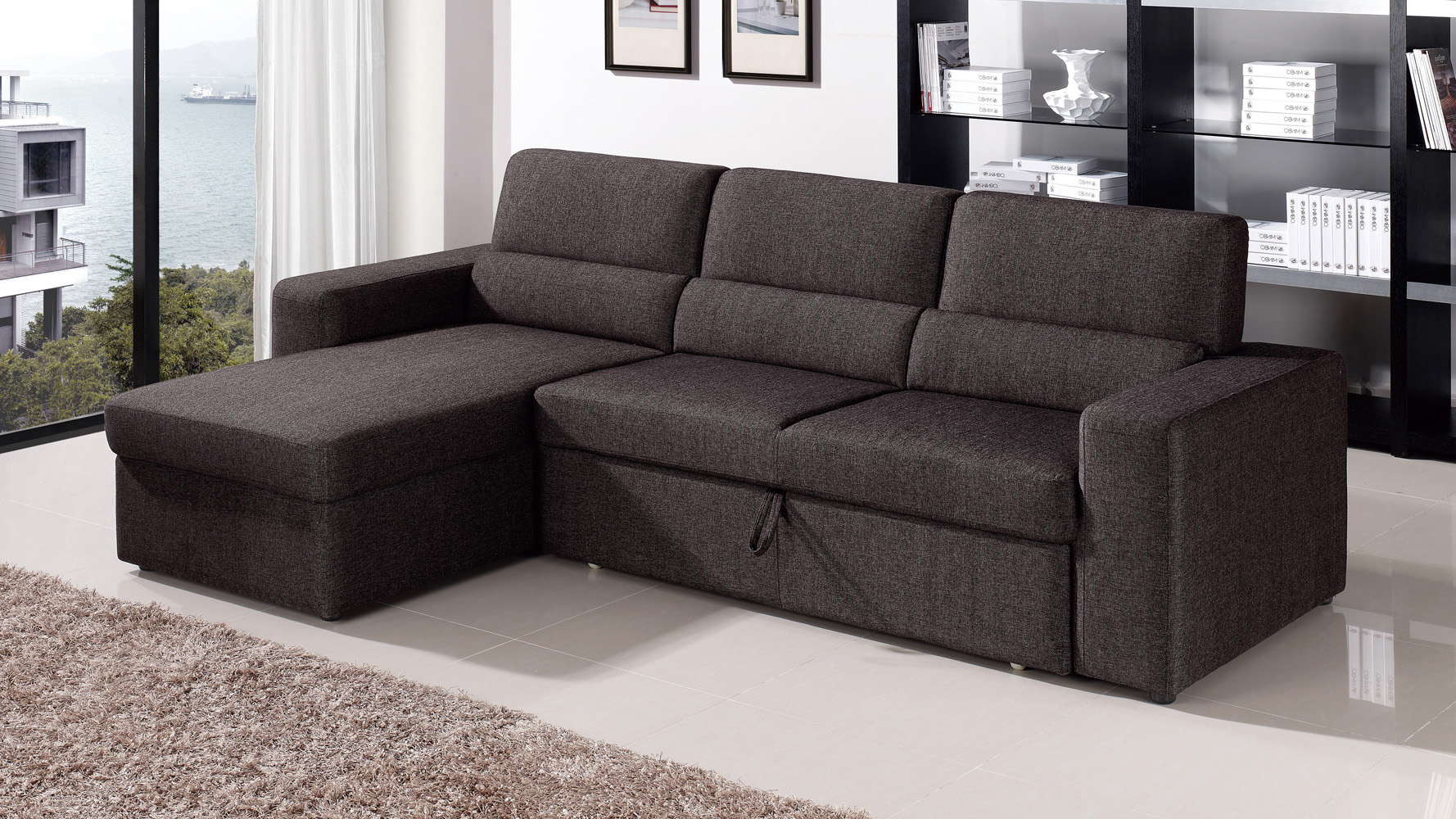clubber sleeper sectional black brown left chaise