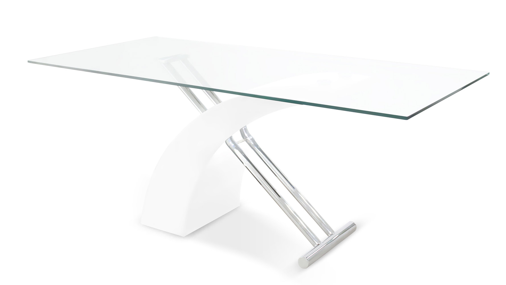 Modern Glass With Lacquer And Chrome Base Lucius Dining
