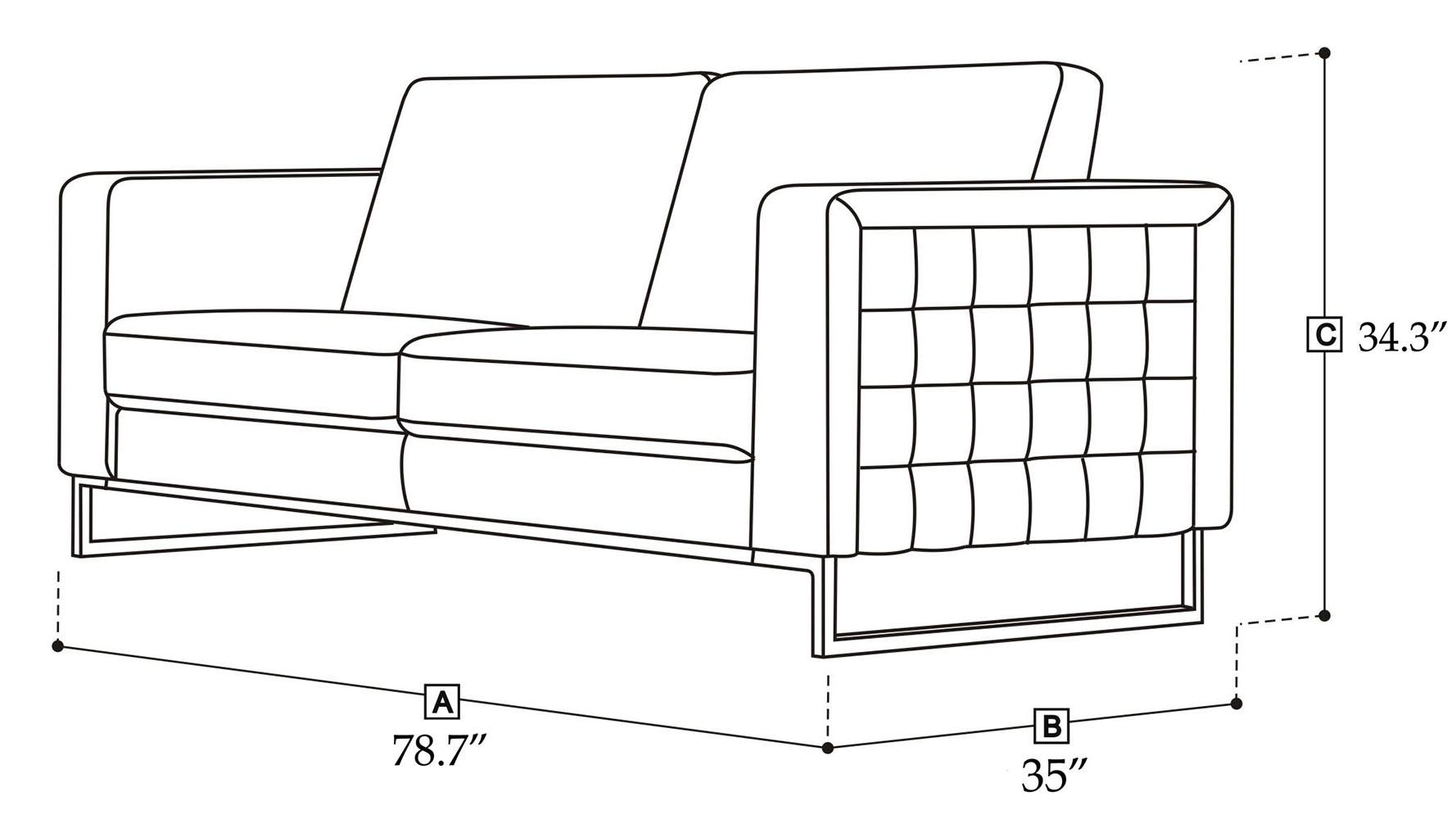 Modern Orange Fabric Upholstered 2 Piece Sofa Set With