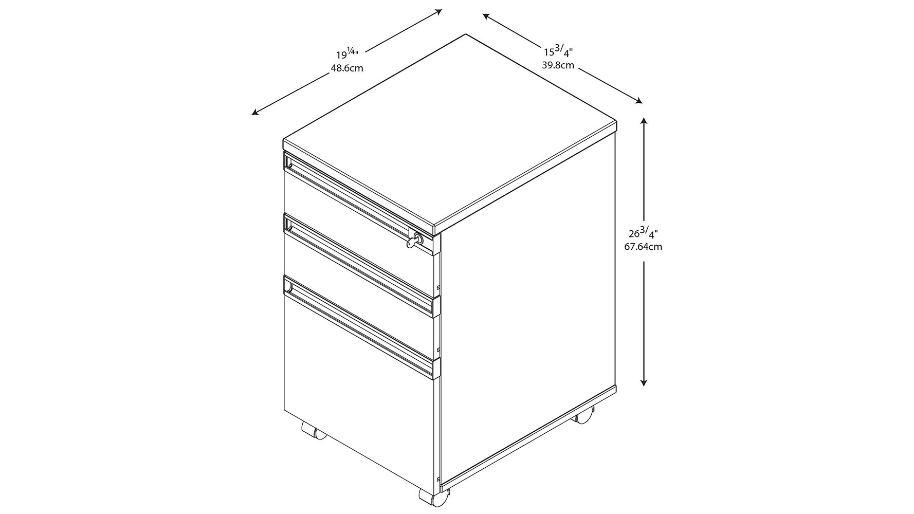 Modern Office Bbf Momentum 3 Drawer Mobile Pedestal In