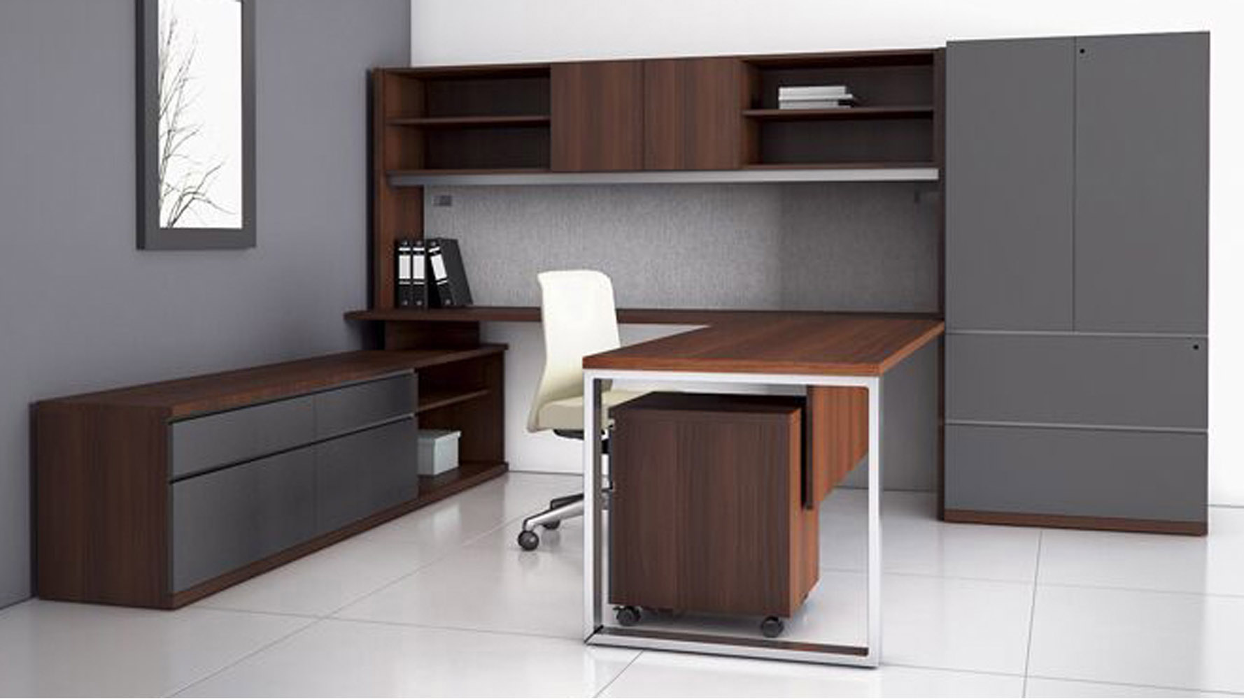 at two u shaped desk with overhead storage credenza