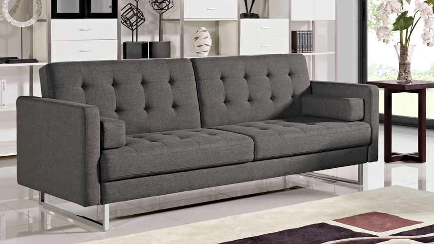Beta Fabric Sofa Bed With Polished Steel Legs Charcoal