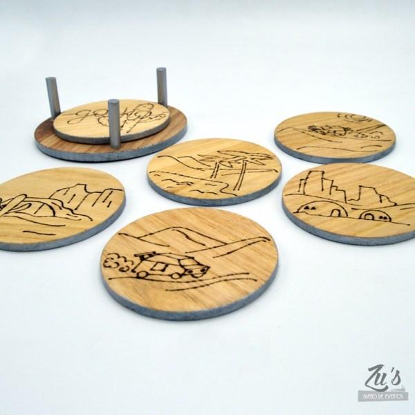 posavasos madera grabados personalizados