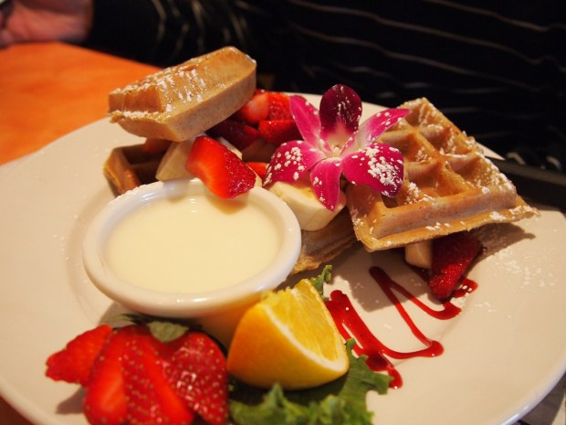Banana and strawberry waffles