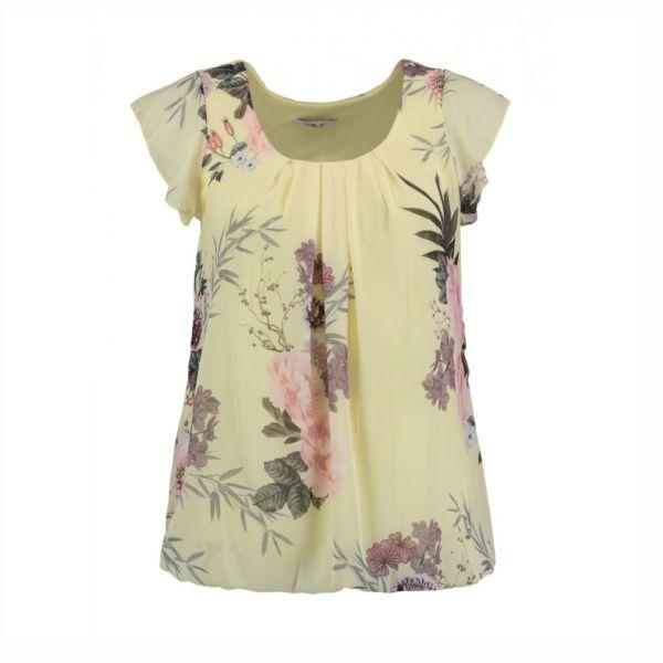 HAILYS Damen Bluse Top NELLIE yellow Flügelärmel Blumen Art.Nr. DF-3018-18