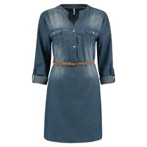 Damen Bluse Lonbluse Jeans langarm von Hailys Modell Patty Artikel SN-1801079-3 Blue Zweisam Mode Schonach Frontalansicht