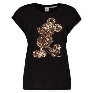 Damen Shirt von Hailys ss p tp clairy in black schwarz mit mickey mouse Pailletten Druck Artikel AY-D3515 bei Zweisam Mode in Schonach Front