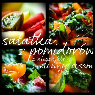 z widokiem na stol   sałatka z pomidorów z zielonym sosem
