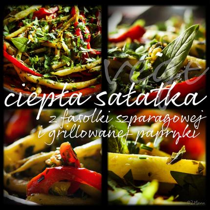 sałatka z fasolki szparagowej i grillowanej papryki