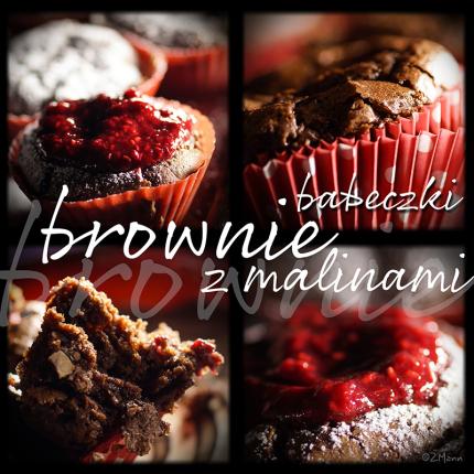 z widokiem na stol | babeczki brownie z malinami