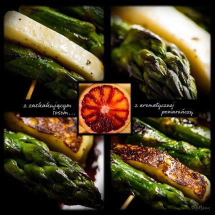 z widokiem na stół | szaszłyki ze szparagów i halloumi