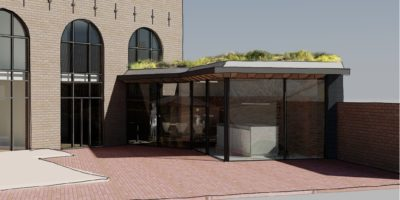moderne aanbouw oude woning grasdak schuifpui architect