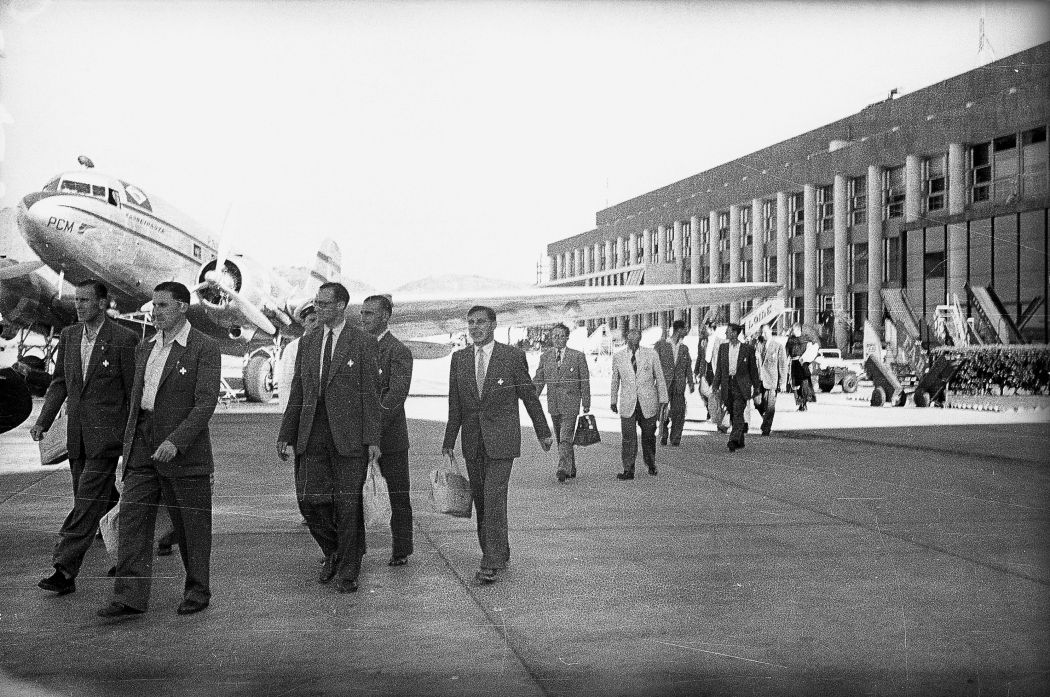Fussball WM Brasilien 1950: Schweizer Team, Ankunft in Rio#Football WC Brazil 1950: swiss team, arrival in Rio
