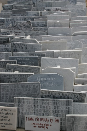 """Thank you"" slates in a cemetary, Havana"