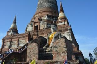 Ayutthaya Wat Yai Chai Mongkol z bliska Tajlandia