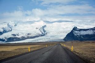 Droga wprost na jęzor lodowca Islandia