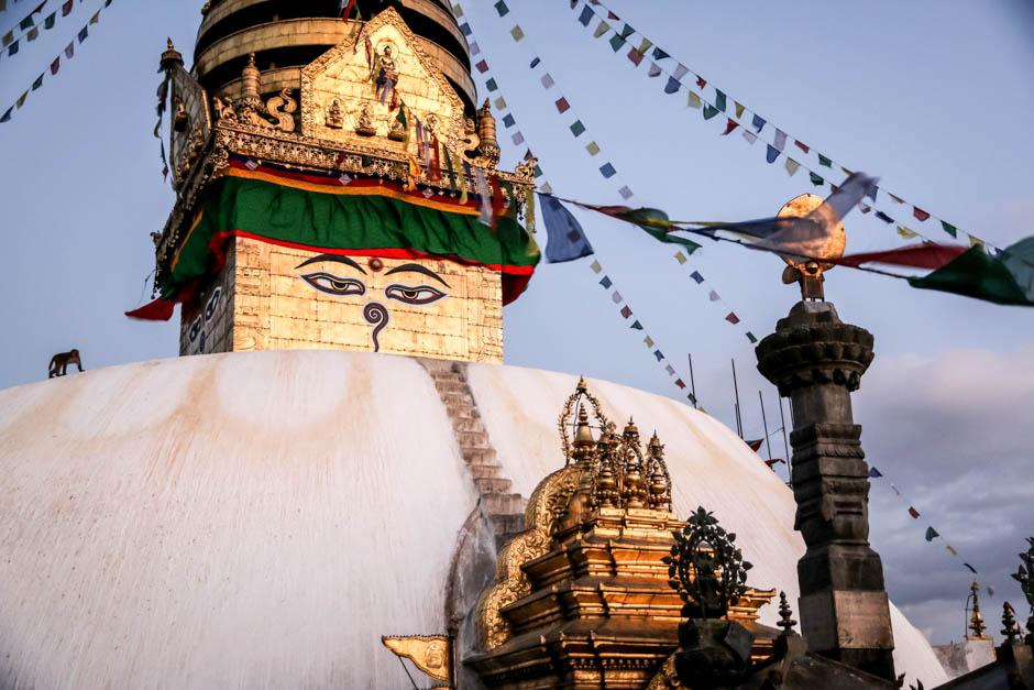 Nepal Katmandu oczy Buddy w Monkey Temple