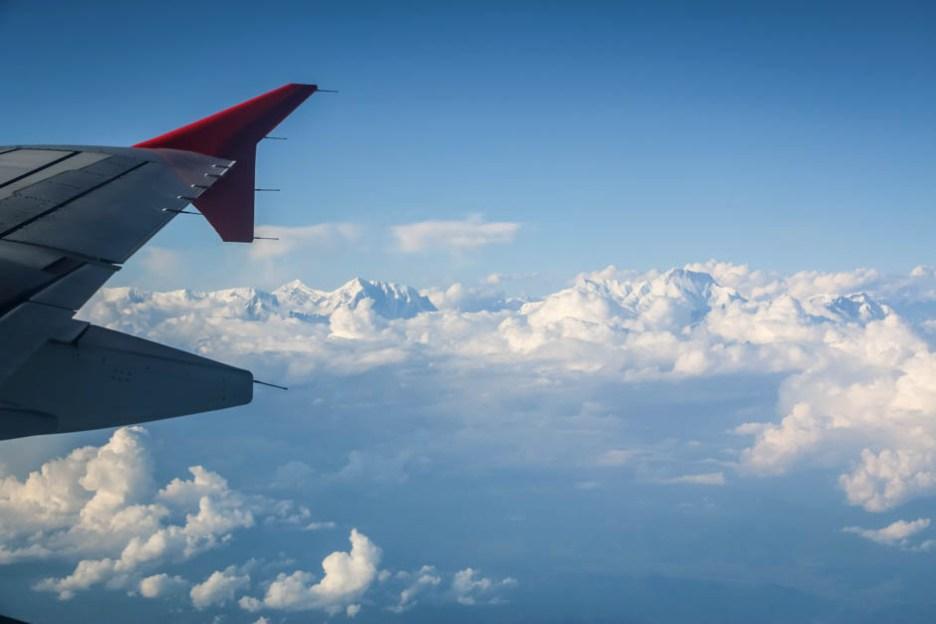 Nepal lot samolotem z widokiem na Himalaje