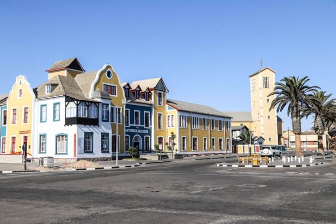 Swakopmund kolorowe domki i kościół