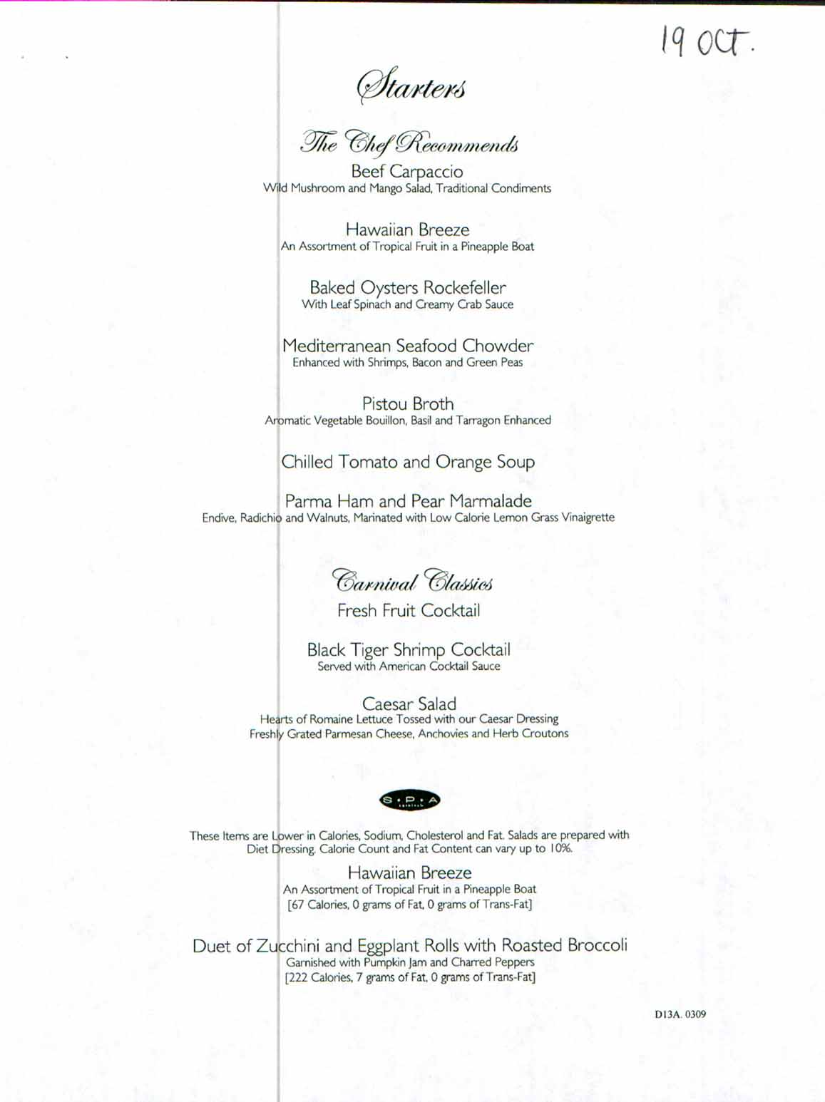 Carnival Dream Menu D13A0309