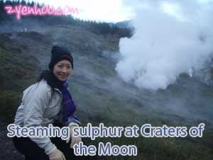 Steaming sulphur at the Craters of the Moon
