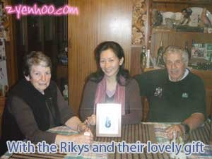 With the Rikys and their lovely gift