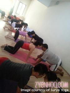 Couple yoga session
