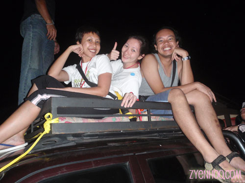 Jie, me and Abby on the roof of the pickup truck
