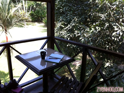 Sitting with a cuppa on the balcony with a green view