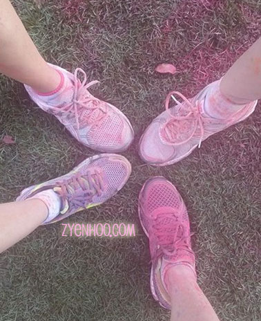 Our nice colourful shoes AFTER the run!
