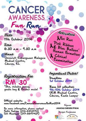 Online poster info about the Cancer Awareness Fun Run