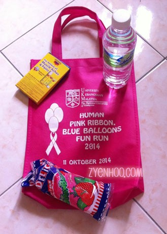 The goodie bag we received at the end of the run