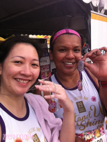 Me and Farah with our finisher tags