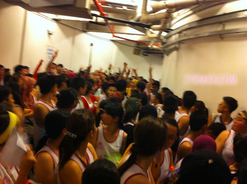 This is how crowded the holding area was. People started doing the wave to relieve themselves of boredom.