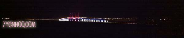 The lit Penang Bridge at night