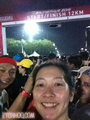 My selfie at the Start Line... photobombed by Soon and Zaliza! :D