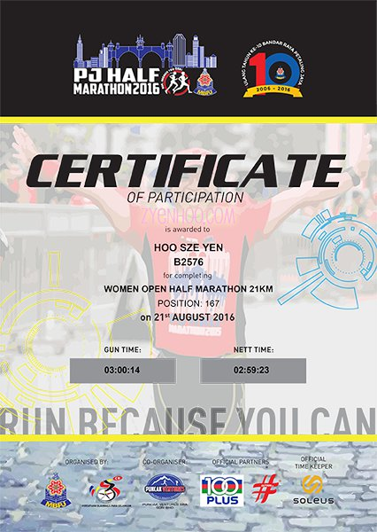 The official certificate which proves I really did sub-3!!!
