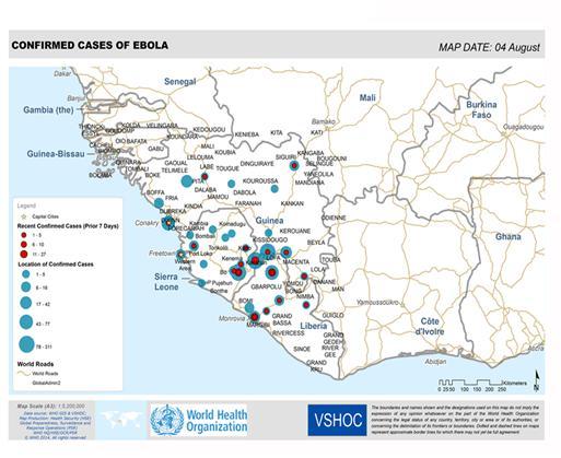 Ebola - mapa