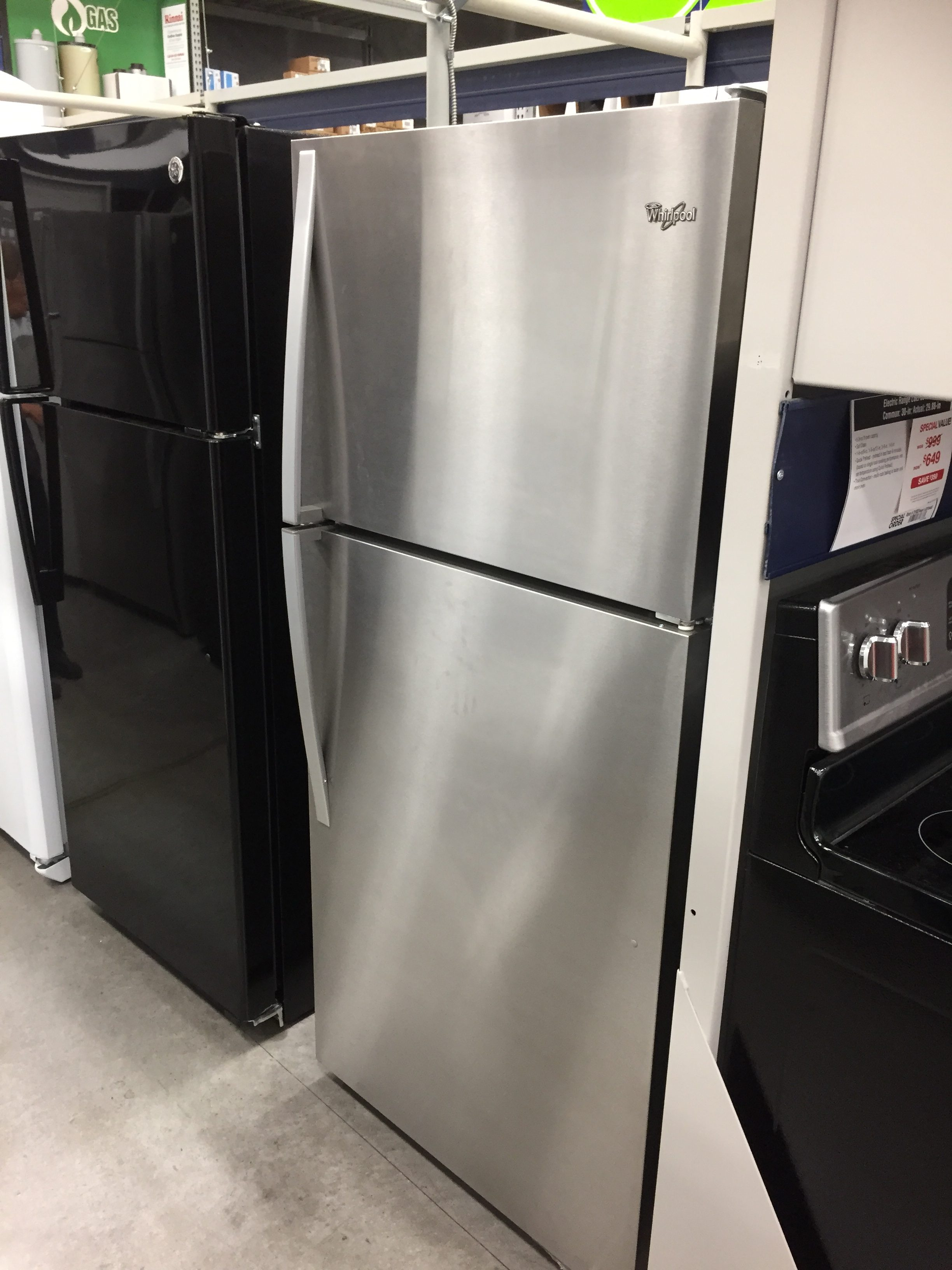 Lowe's fridge $548. (Going to look Craigslist for used one.)