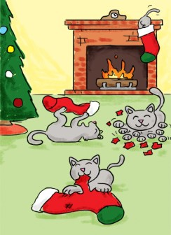 Stocking Kitties Christmas Wishes Card Cover