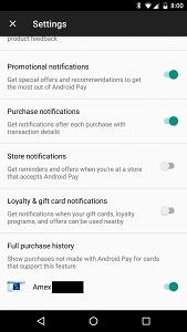 android pay notifications